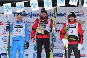 Podium de la Transjurassienne con Ivanou como vencedor, seguido de Bonaldi y Martin Koukal. Foto: Ski-Nordique.net
